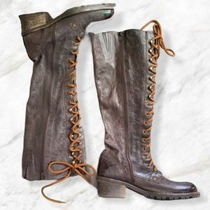 ALDO Brown Leather Lace Up Tall Combat Boots